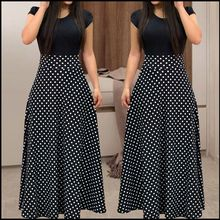 2018 New Arrival Women Fashion Summer Black Elegant Casual Party Dress Short Sleeve Polka Dots Print Patchwork Maxi Dress