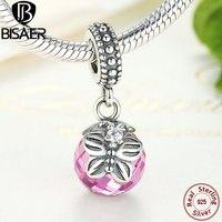 100% 925 de plata de ley rosa mañana mariposa colgante del encanto fit pandora pulsera del encanto de diy accesorios de la joyería de regalo gos258