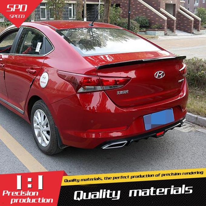 For Hyundai Verna Spoiler 2017 Abs Material Car Rear Wing