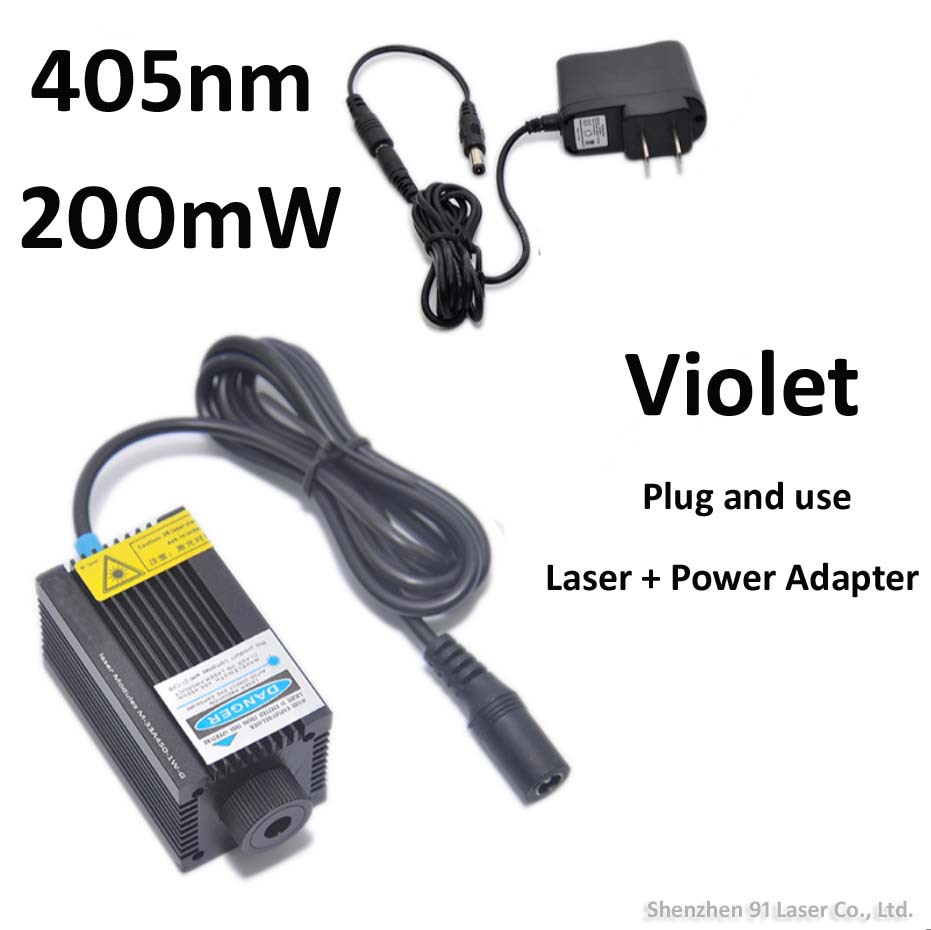 200mW 405nm focusable violet laser with power adapter plug and use to ignite match or engraving something