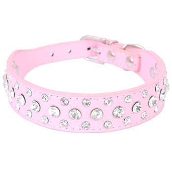 1 Inch Wide Bling Rhinestone Diamond Cat Dog Collars PU Leather Pet Strap for Dogs Red Black Pink 3 Colors salmon