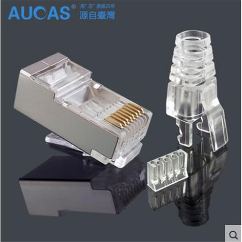 high quality shielded rj45 connector network connector cat6 rj45 plug connector ftp three pcs. Black Bedroom Furniture Sets. Home Design Ideas
