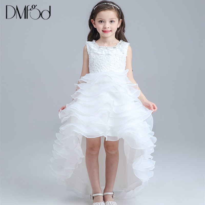 Princess Flower Girls Dresses 2018 New Summer Tutu Wedding Long Formal Irregular Girl Dress Kids Birthday Party New Dresse 1290 girls short in front long in back purple flower girl dress summer 2017 girl formal dress kids party princess custume skd014283