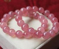 AA+ Genuine rock Crystal Quartz 8 10 12mm 8inch round ball pink red jewelry bracelet