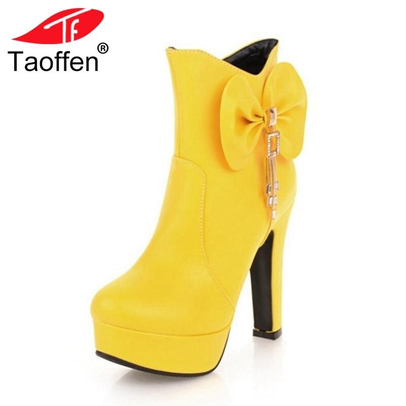 TAOFFEN Plus Size 32-48 Women High Heel Boots Winter Platform Woman Shoes Warm Fur Bowknot Boots Mature Ladies Footwear