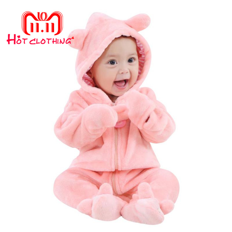 Winter Baby   Rompers   Bear Style New Year Newborn Baby Jumpsuit Coral Fleece Brand Hoodies Baby Girls Boys   Romper   Toddle Clothing