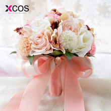 XCOS Silk Wedding Bouquet Wedding Flowers Keepsake Bouquet Bridal Bouquet Coral Rose and pink hydrangea Wedding Bouquet