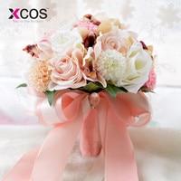 XCOS Zijde Bruidsboeket Bruiloft Bloemen Keepsake Boeket Bruidsboeket Coral Rose en roze hortensia Boeket