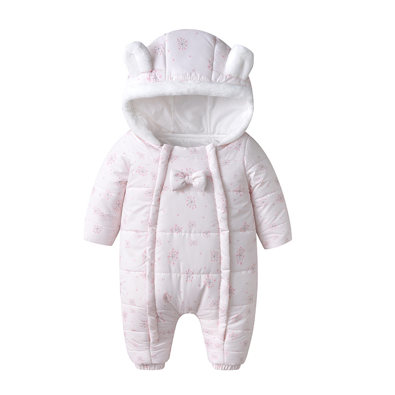 Baby girl Clothes Newborn Baby  Winter Hooded Rompers Thick Cotton Lining Outfit  Jumpsuit Costume Toddler Waterproof Romper
