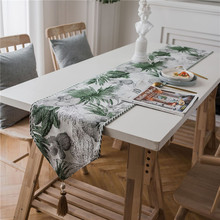 Countryside Print Leaf Table Runner Flag Tassel Modern Tea Tablecloth TV Cabinet Cover for Banquet Wedding Party Home Decor