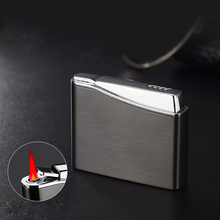 Portable Personality Ultra-thin Metal Butane Inflatable Lighter Windproof Gas Lighter Cigar Cigarette Lighter Red Flame все цены