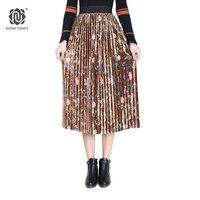 NORA TWIPS 2018 Spring Women Fashion Print Velvet Pleated Skirt faldas mujer Elastic Waist Polyester Mid-Calf Long Skirts Women