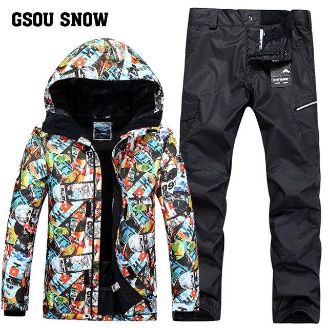 Nouveau GSOU neige homme Ski costume hiver extérieur coupe-vent imperméable garder au chaud Ultra léger Ski manteau + pantalon de Ski taille XS-XL