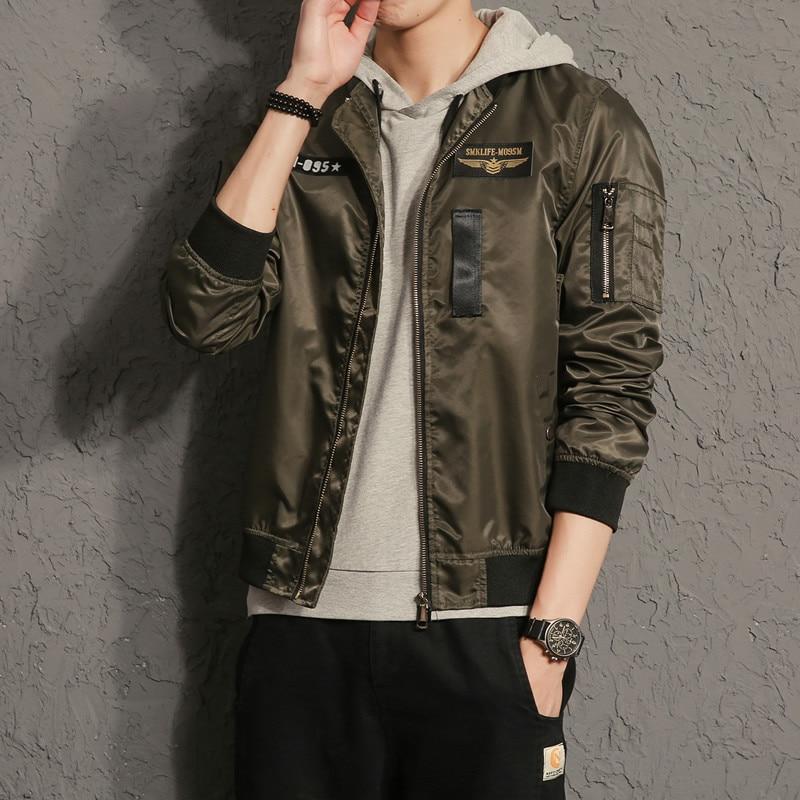 VERSMA 2017 Loose Embroidery Badge US Army Pilot MA1 Jacket Coat Men Autumn Japanese Harajuku GD Vintage Baseball Jackets Coats