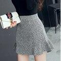 Весна осень женщины Мода повседневная высокая талия Тонкая воланами юбка пакет хип рыбий хвост юбки юбки для девочек
