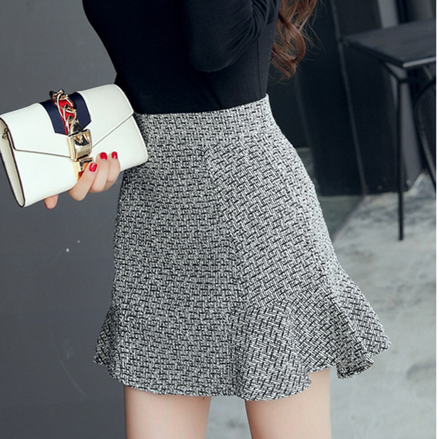 spring autumn women Fashion casual high waist Slim flounced skirt package hip fishtail skirt skirts for girls