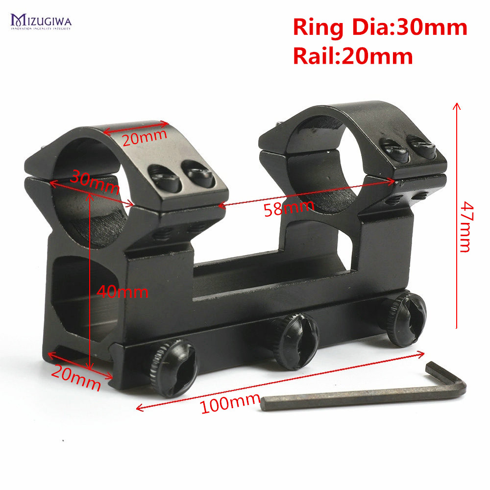 MIZUGIWA Tactical 30 mm One Piece Double Scope Rings Higher Mount Dovetail Ring 20mm Weaver Rail Pistol Airsoft AdapterMIZUGIWA Tactical 30 mm One Piece Double Scope Rings Higher Mount Dovetail Ring 20mm Weaver Rail Pistol Airsoft Adapter