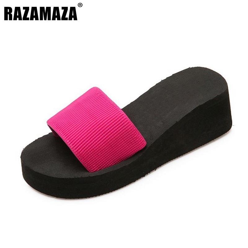 RAZAMAZA Size 35-40 Fashion Ladies Summer Shoes Women Open Toe Platform Trifle Shoes Women Wedges Slippers Concise Footwear