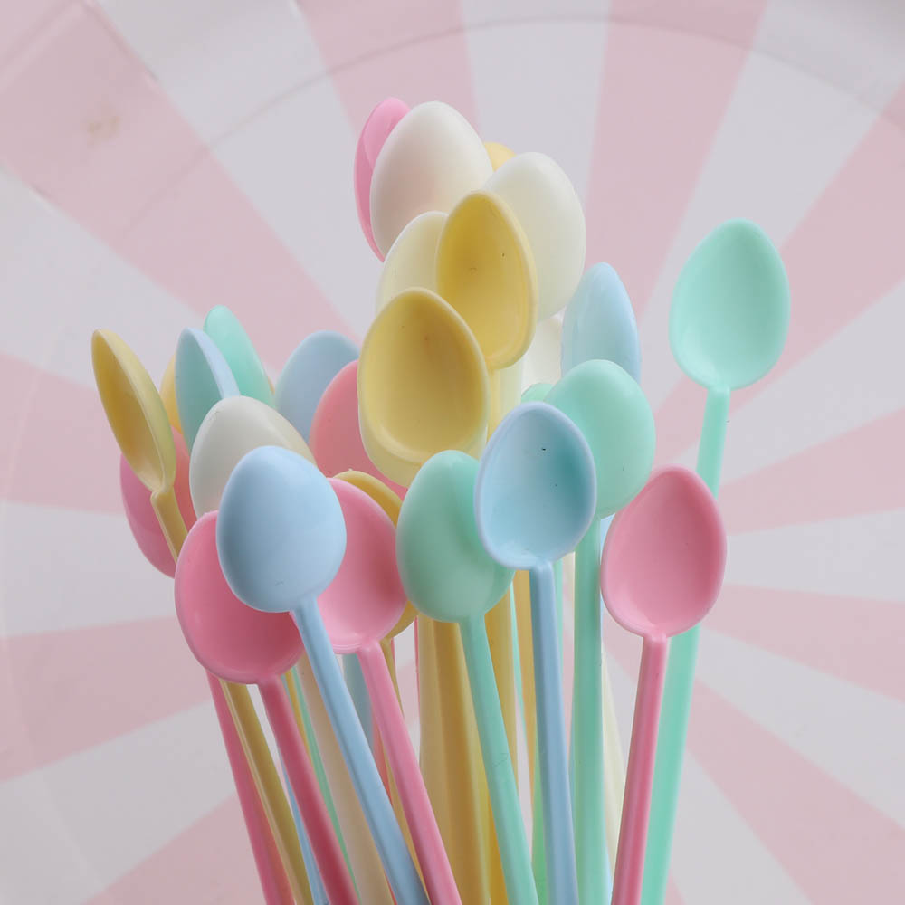 30Pc Random Mini Candy-color Plastic Cute Dispensing Spoon Jewelry Tool Resin Silicone Mold Tools Stirring Stick