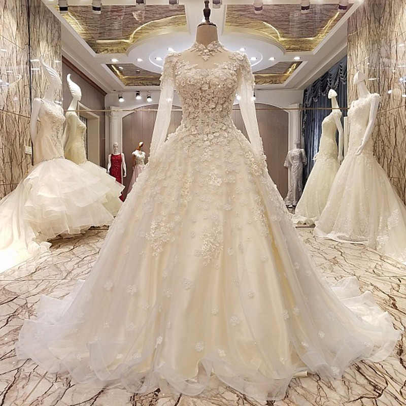 Evening dress long sleeve high neck beaded A line long prom dress with 3D flowers abendkleider