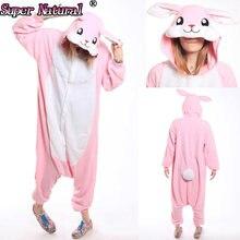 HKSNG высокое качество SA розовый кролик кигуруми Осень Зима взрослых  унисекс животных милые пижамы комбинезоны костюмы для косп. 2436f830a7120