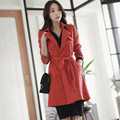Red Trench Female 2017 Spring and Autumn New Middle Length Double Breasted Coat Women Korea Slim Long Sleeve Plus Size Outwear