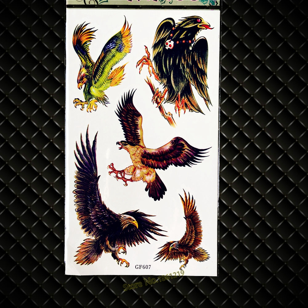 High Quality Eagle Designs Fake Flash Tattoo WOmen Body Art Arm Legs Tattoo Stickers GGF607 Men Temporary Tattoo 3D DIY Hawks