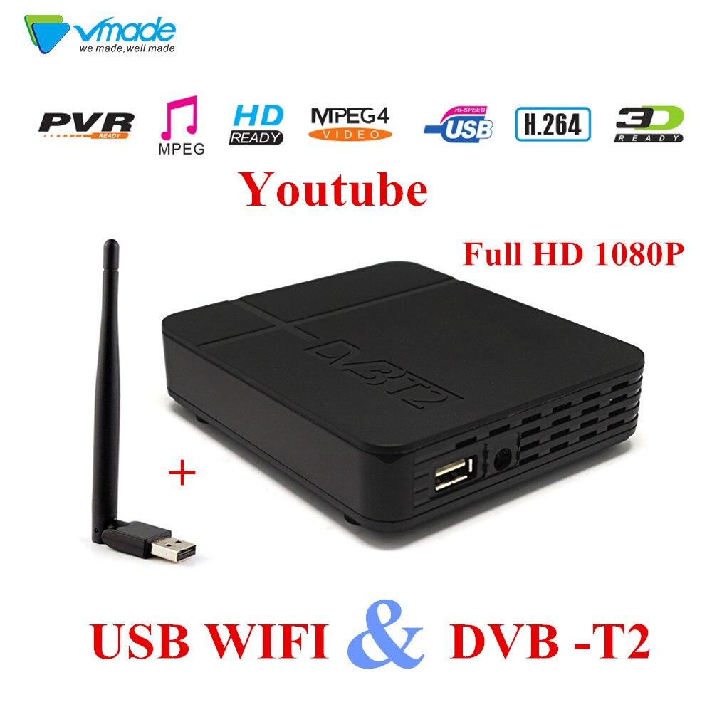 Nouveau HD DVB T2 K2 Numérique Terrestre récepteur Full HD 1080 p DVB Soutien Youtube FTA DVB-T2 LNB TV TUNER récepteur + USB Wifi7601