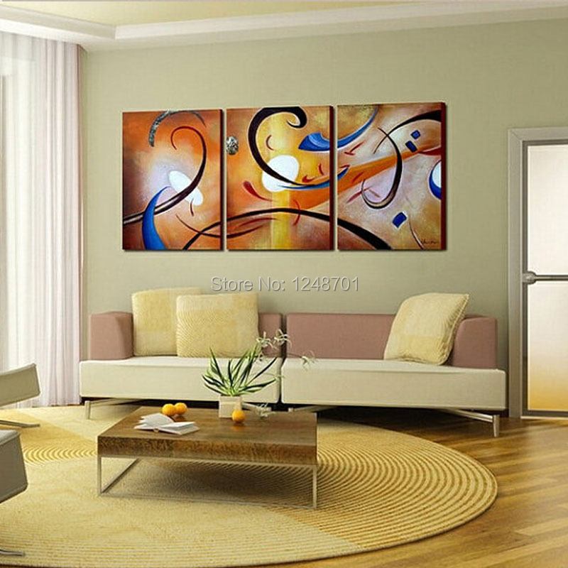 3 pcs modern abstract oil painting contemporary wall art for Wall paintings for office