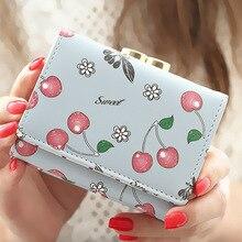 Frauen Brieftasche Korean Fashion Cute Leder Brieftasche Kirsche Gedruckt Kleine Frauen Geldbörse Carteira Feminina Kommissions Tasche Kartenhalter