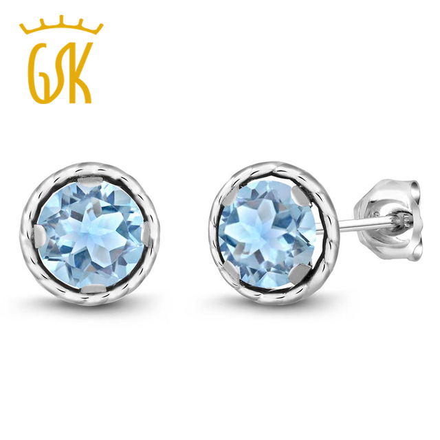 Aquamarine Stud Earring Jewelry 2 39ct Round 6mm Sky Blue Topaz 925 Sterling Silver Earrings