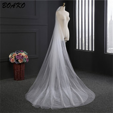 BOAKO 3 Meters Two Tier Long Wedding Veil White Beige Simple Cut Edge Bridal 2019 Cheap Accessories Veu de Noiva