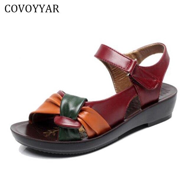 3186f62c71b COVOYYAR Leather Knot Sandals Low Heel Women s Summer Sandal Shoes Contrast  Color Comfort Ladies Women Shoes Big Size WSS14