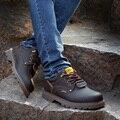 Primavera outono sapatos casuais ferramental de couro à prova d' água dos homens lace UP Britânico homens sapatos de couro genuíno apartamentos sapatos Oxford brogue