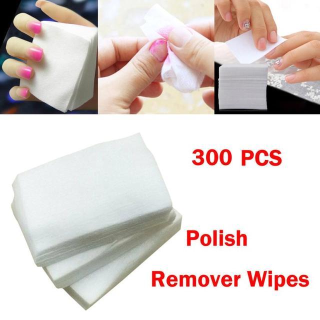 300pcs nail remover wipes Cotton white Lint Free Nail Art Gel Polish ...