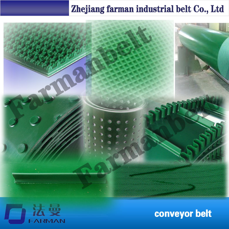 Large Load Capacity Wavy Raised Edge Used Green Pvc Conveyor Belt With Guide Strip stylish pin buckle rivet perforated wavy edge light coffee belt for women