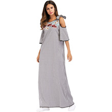 #187038# New Muslim Long Ethnic Style Embroidery Collage Shoulder Dresses Gowns  Ramadan for Women Dubai Fashion