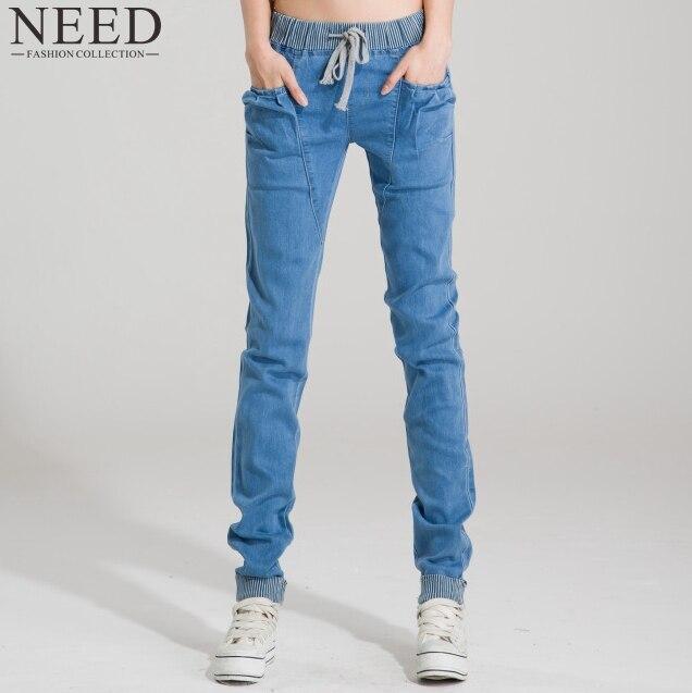 2018 летние Для женщин эластичные Джинсы для женщин женские свободные шаровары Джинсы для женщин Для женщин Дамские шаровары Большие джинсы для Для женщин