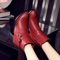 NEW Fashion Women Winter Warm Ankle Boots PU Leather Pointed Toe Women Pumps Buckle Square Heel Women Boots