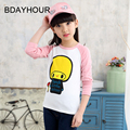 "Cartoon ""FANCH Little MUshroom"" Printing Korean Long-Sleeved Round Neck Sports Girls T-Shirt 2017 Spring Children'S Clothing New"