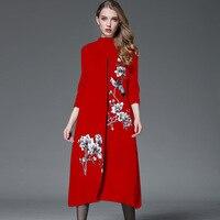 Плюс размер 2018 весна женский свитер кардиган свитер винтажная Женская Вышивка цветок длинный кардиган пальто накидка верхняя одежда