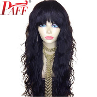 PAFF Wavy Glueless Brazilian Lace Front Human Hair Wigs With Bangs Remy Hair Bleached Knots Pre Plucked Natural Hairline