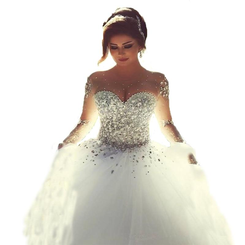 2016 Vestidos De Novia Long Princesa Ball Gown Crystal
