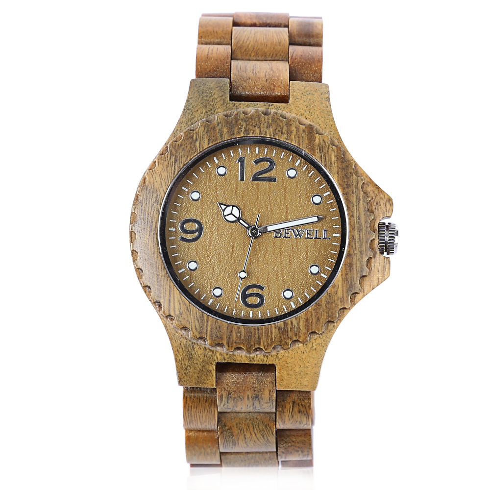 BEWELL 2017 Men Women Sandalwood Quartz Watch Luxury Elegant Wood Watches Waterproof Analog Wristwatch relogio Best Gift bewell natural wood watch men quartz watches dual time zone wooden wristwatch rectangle dial relogio led digital watch box 021c