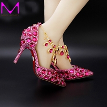 Fuchsia Rhinestone Pointed Toe Bride Shoes Summer Women's Luxury Crystal Wedding Shoes Genuine Leather Party Pumps Ankle Strap