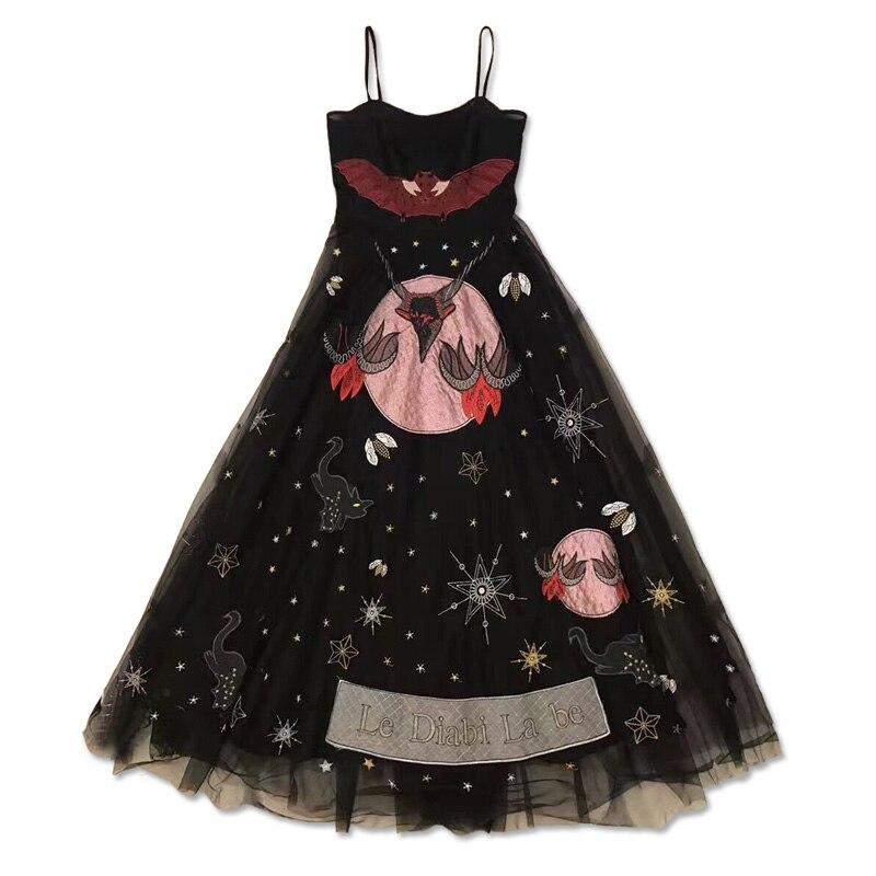 Новое платье вуаль без бретелек взлетно посадочной полосы черный тюль Спагетти ремень вышивка пряжа на заказ