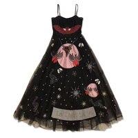 Новое платье вуаль без бретелек взлетно посадочной полосы черный тюль Спагетти ремень вышивка пряжи на заказ