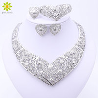 Jewelry Sets African Beads Heart Shaped Collar Statement Silver Plated Necklace Earrings Set For Women Vintage Party Accessories