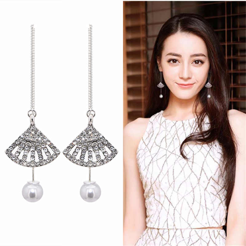 Hot Fashion Crystal Sector Drop Earrings For Women Wedding Punk Long Statement Metal Chain Tassel Dangle Earring Jewelry 2019