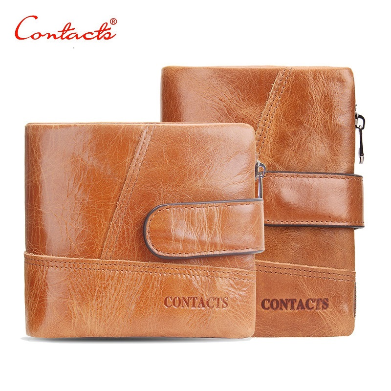 CONTACT'S Genuine Crazy Horse Cowhide Leather Women Men Wallet Short Coin Purse Small Vintage Wallet Brand High Quality Designer onlvan mens wallet crazy horse genuine leather cowhide cover coin purse man vintage male credit id multifunctional wallets